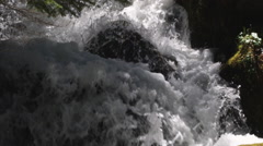 Foaming water at the foot of a forest waterfall plunging around mossy rocks Stock Footage