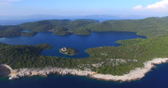 Aerial view of St. Mary island on island of Mjlet, Croatia Stock Footage