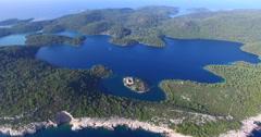 Aerial view of St. Mary island on island of Mjlet, Croatia - stock footage