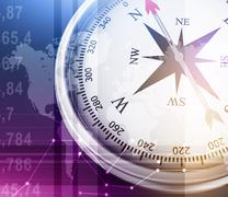 Illustration of compass and world map on colorful background with numbers - stock illustration