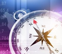 Abstract illustration with compass and world map in the foreground - stock illustration