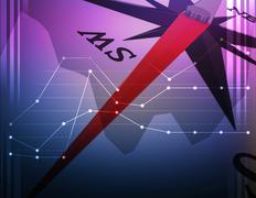 Abstract illustration with closeup compass and graphics - stock illustration