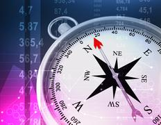 Abstract illustration with compass and random numbers - stock illustration