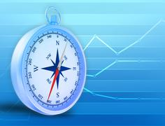 Abstract illustration with compass and blue lines in the background - stock illustration