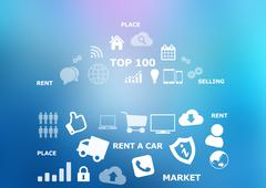Icons on blue background. Content creation tool - stock illustration