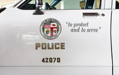 Los Angeles Police Department Squad Car and Logo - stock photo