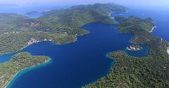 Aerial view of beautiful Mljet Island, also called Green Island, Croatia Stock Footage