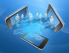 phones and people united in the command network - stock illustration