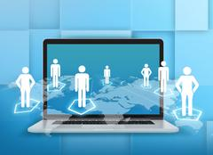 Laptop and world map with people standing on hexagonal pedestals - stock illustration