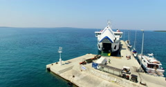 Ferry docked at Olib harbour, Croatia Stock Footage