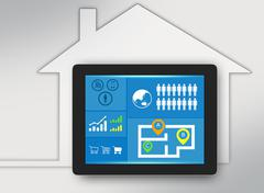 Tablet with icons on screen and surrounded the house Stock Illustration