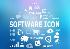 software diversity icons on blue background. Content creation tool - stock illustration