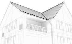 Illustration of a house. Black line drawing - stock illustration