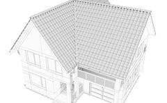 Illustration of a house. Black line drawing Stock Illustration