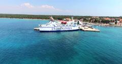 Ferry docked at Olib harbour, Croatia Stock Footage
