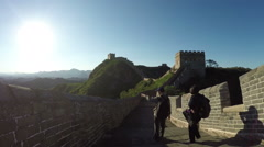 Great Wall of China, Travelers. Stock Footage