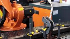 Robot welding equipment, close up process Stock Footage