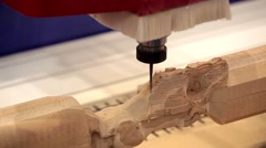 Wood door CNC engraving and cutting machine close up processing - stock footage