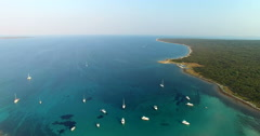 Aerial view of beautiful Slatinica bay, Croatia Stock Footage
