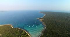 Aerial view of beautiful Slatinica beach at Olib Island, Croatia Stock Footage