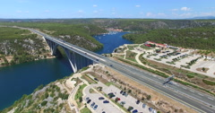 Aerial view of Krka bridge highway, Croatia Stock Footage