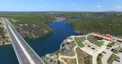 Aerial view of Skradin, Croatia Stock Footage