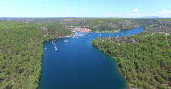 Aerial view of Skradin, Croatia Stock Footage