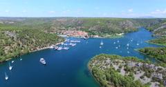 Aerial view of harbour in Skradin, Croatia Stock Footage