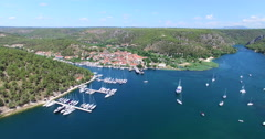 Aerial view of harbour in Skradin, Croatia Stock Footage