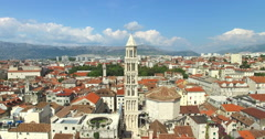 View of roof and Saint Domnius bell tower in Split Stock Footage