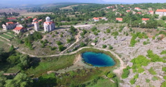 Aerial view of beautiful source of Cetina river, Croatia Stock Footage