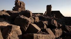 Abandoned ruined city of Um Al Jimal in Northern Jordan Stock Footage
