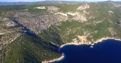 Aerial view of beautiful beach St. John on Island of Cres, Croatia Stock Footage