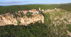 Aerial view of fort city Lubenice, Croatia Stock Footage