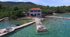 Aerial view of small bay on Island of Cres, Croatia Stock Footage