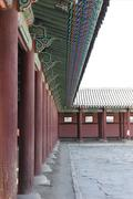 Gyeongbokgung corridor and roof detail historic architecture - stock photo