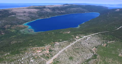 Aerial view of beautiful Vrana lake, Croatia Stock Footage