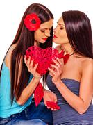 Lesbian women with heard  in erotic foreplay game Stock Photos
