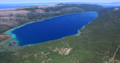 Aerial view of Lake Vrana, largest lake in Croatia Stock Footage