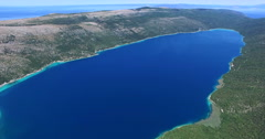Aerial view of Vrana lake, natural phenomenon on the island of Cres, Croatia - stock footage