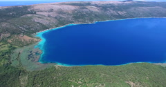 Aerial view of Vrana lake, natural phenomenon on the island of Cres, Croatia Stock Footage