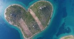 Aerial view of Galesnjak Island, Croatia Stock Footage
