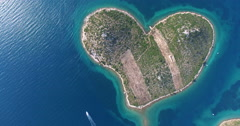 Aerial view of heart-shaped Island of Galesnjak, Croatia - stock footage