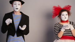 Mimes call each other Stock Footage