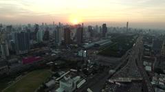 aerial view bangkok thailand sky scraper - stock footage