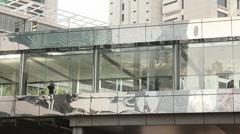 Pedestrian overpass in Hong Kong Stock Footage