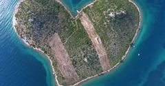 Aerial view Island of Galesnjak, Lover's Island, Croatia Stock Footage