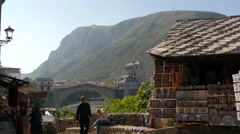 Souvenir stalls, Stari Most and Hum mountain in Mostar Stock Footage