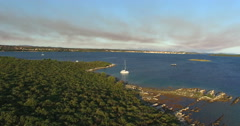Aerial view of small Island of Galesnjak in Croatia Stock Footage