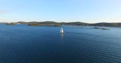 Yacht sailing near the Galesnjak Island, Croatia Stock Footage
